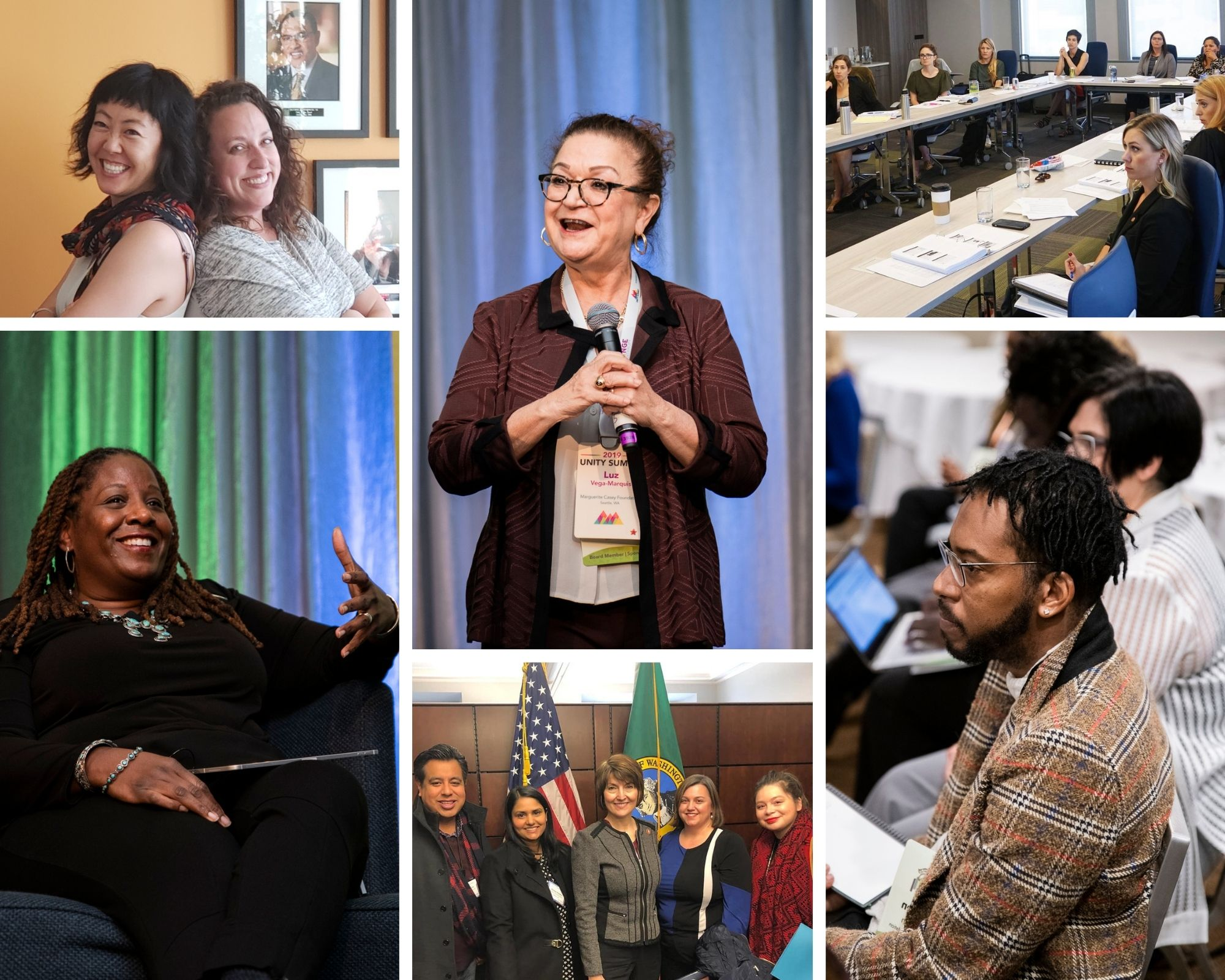 A mix of 6 pictures of PNW members in action in 2019, speaking and attending our conference, participating in workshops, meeting with legislators at Foundations on the Hill, and building relationships in the momentum fellowship program.