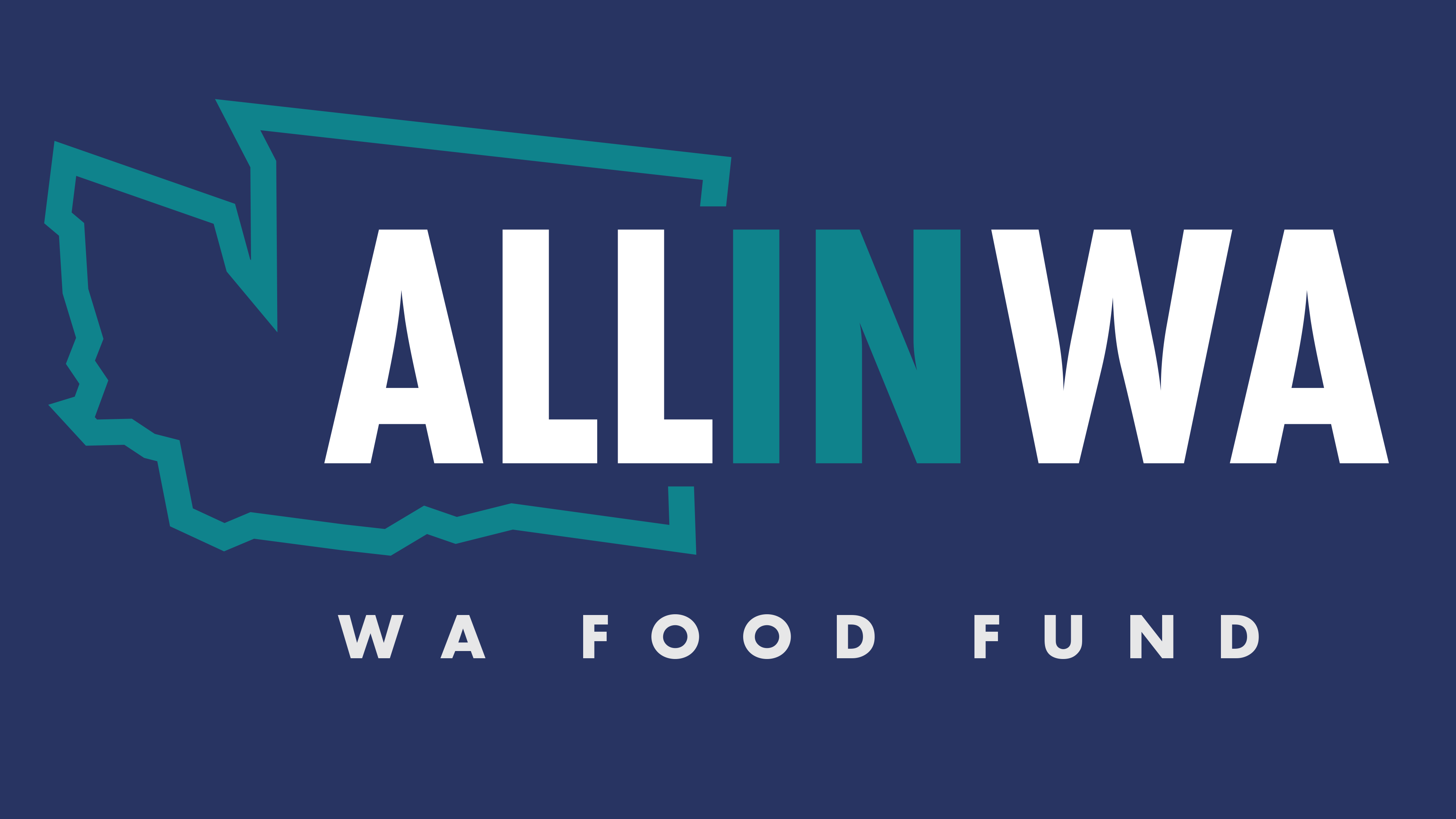 All In WA logo on dark blue background with WA Food Fund listed as a partner name underneath