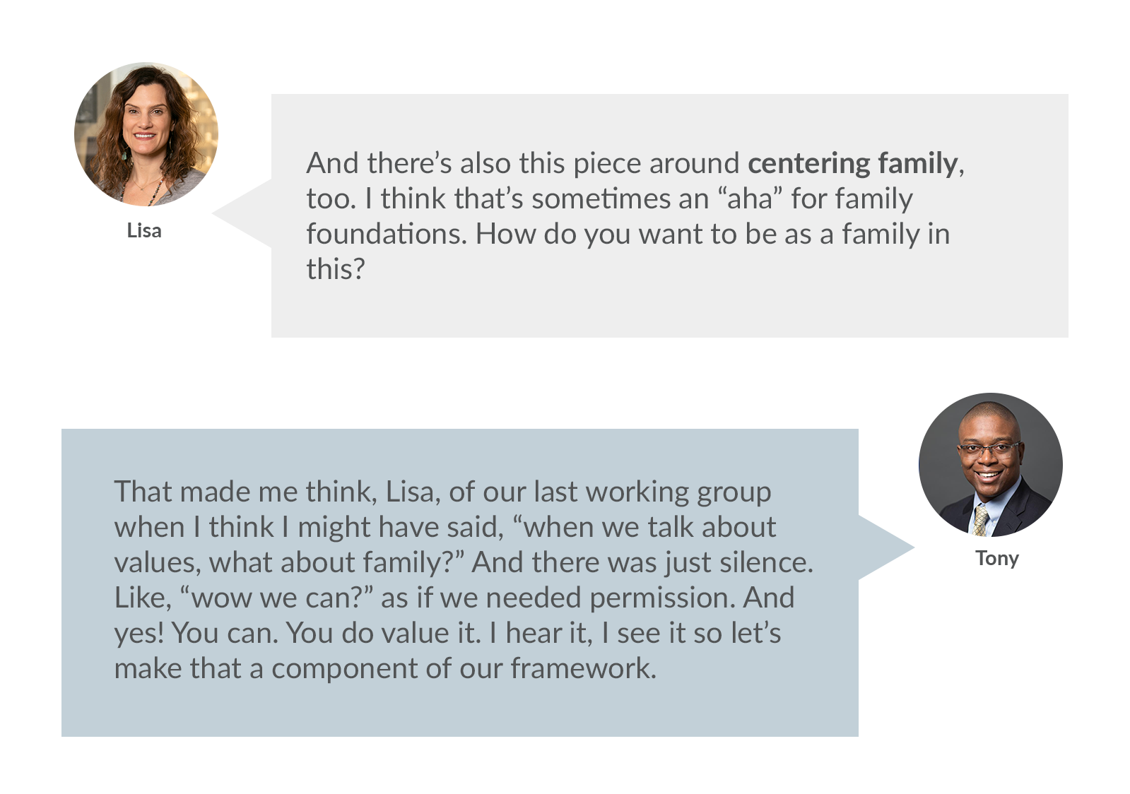 """Lisa: And there's also this piece around centering family, too. I think that's sometimes an """"aha"""" for family foundations. How do you want to be as a family in this?   Tony: That made me think, Lisa, of our last working group when I think I might have said, """"when we talk about values, what about family?"""" And there was just silence. Like, """"wow we can?"""" as if we needed permission. And yes! You can. You do value it. I hear it, I see it so let's make that a component of our framework."""