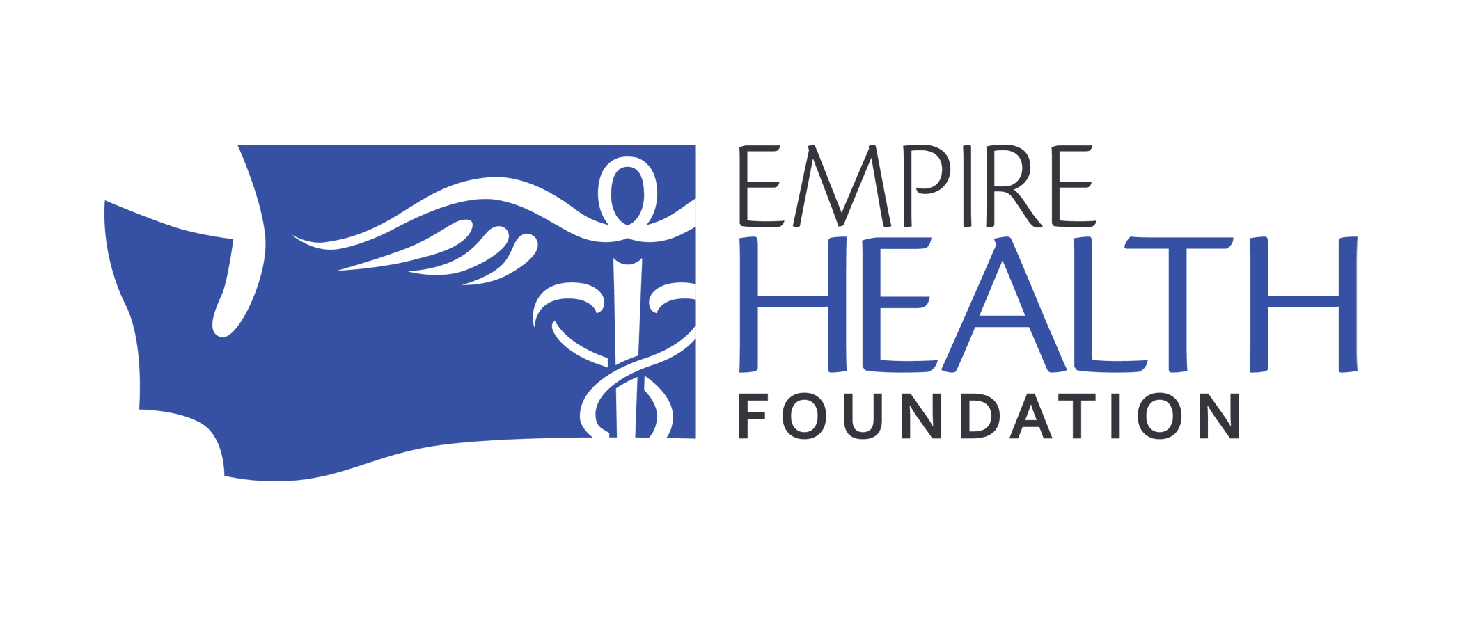 "Blue outline of washington state next to the words ""Empire Health Foundation"""