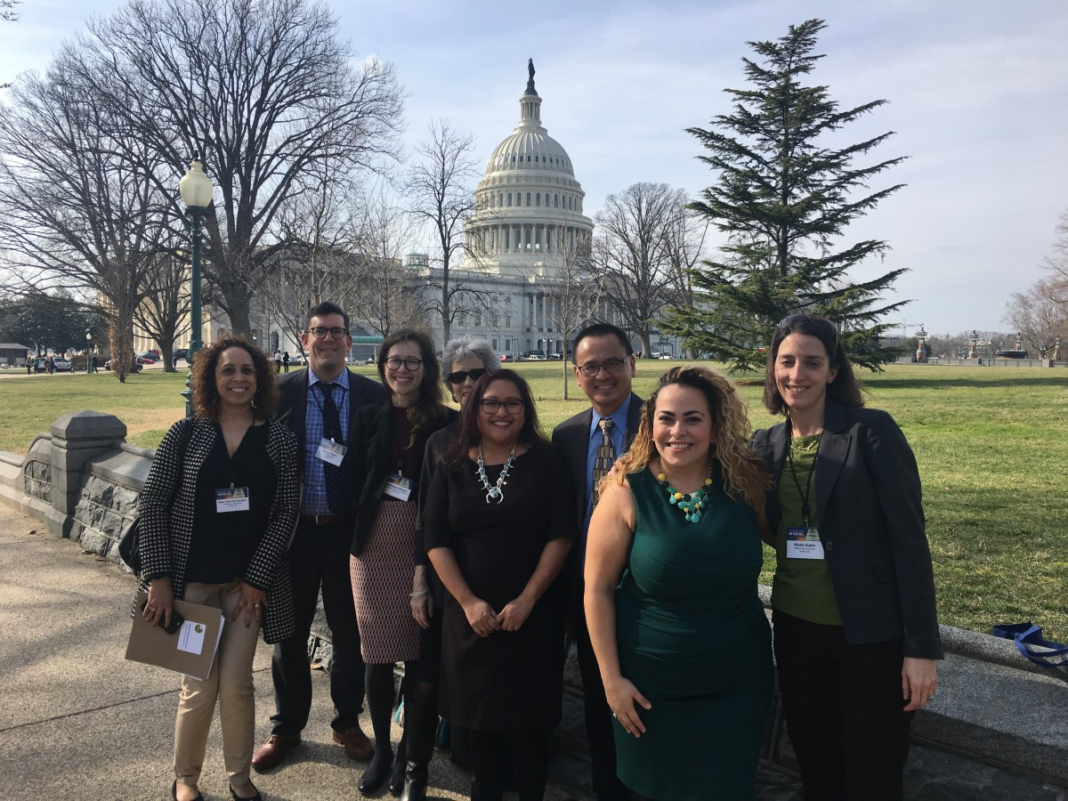 A group photo of 8 PNW members and staff outside the US Capitol building in WA DC at FOTH 2017