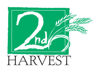 Logo of Second Harvest showing as 2nd with 3 shafts of wheat growing out of the 2 in green, all centered over the word HARVEST in black lettering