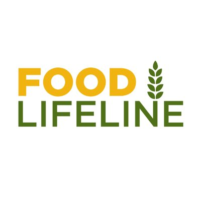 Logo of Food Lifeline with Food in yellow block letters, lifeline in green block letters with a little wheat shaft growing out of the N