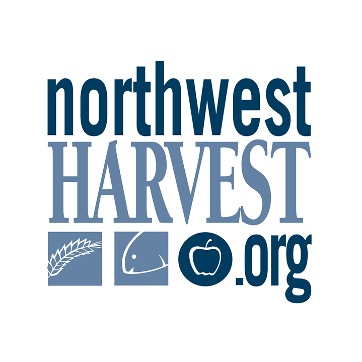 Logo of Northwest Harvest in blue lettering with three icons (a wheat shaft, a fish and an apple)