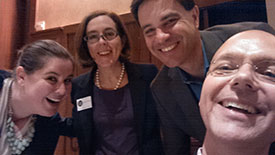 Panelist selfie: Rachel Clements, Kate Brown, John Tapogna and me at The River Gathering in Central Oregon on May 2