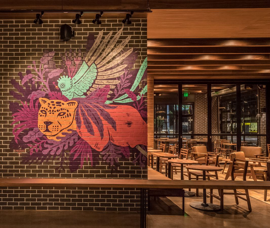 A picture of the mural inside the Starbucks at White Center