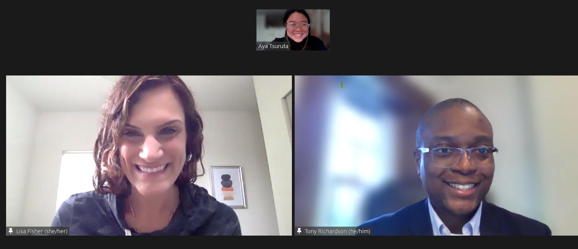 Screenshot image of Zoom video screen with Lisa, Tony and Aya.