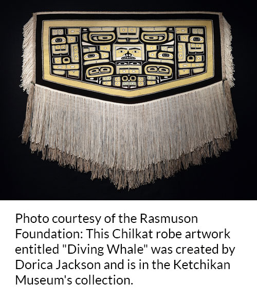 "Photo courtesty of the Rasmuson Foundation: This Chilkat robe artwork entitled ""Diving Whale"" was created by Dorica Jackson and is in the Ketchikan Museum's collection."