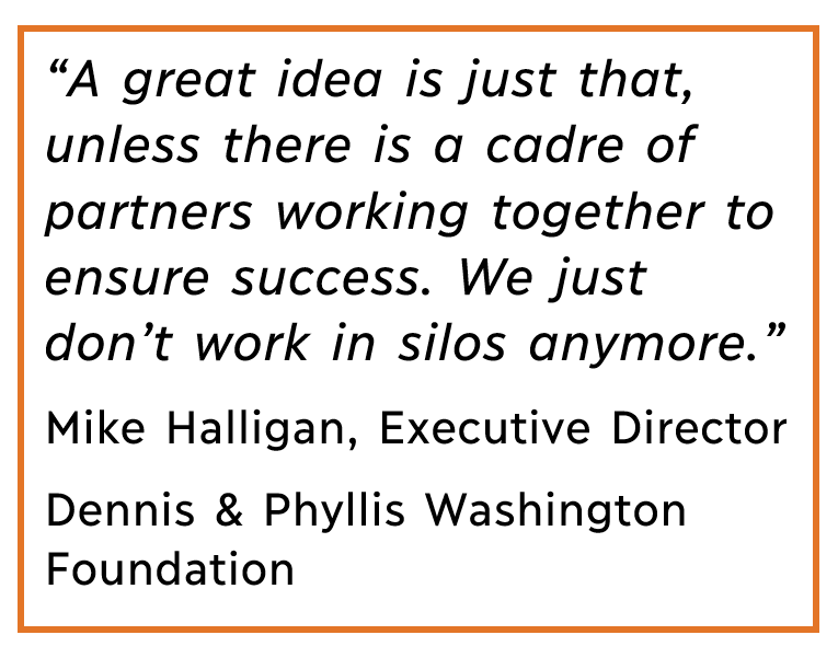 Quote callout_A great idea is just that, unless there is a cadre of partners working together to ensure success. We just don't work in silos anymore. Mike Halligan, Executive Director, Dennis & Phyllis Washington Foundation