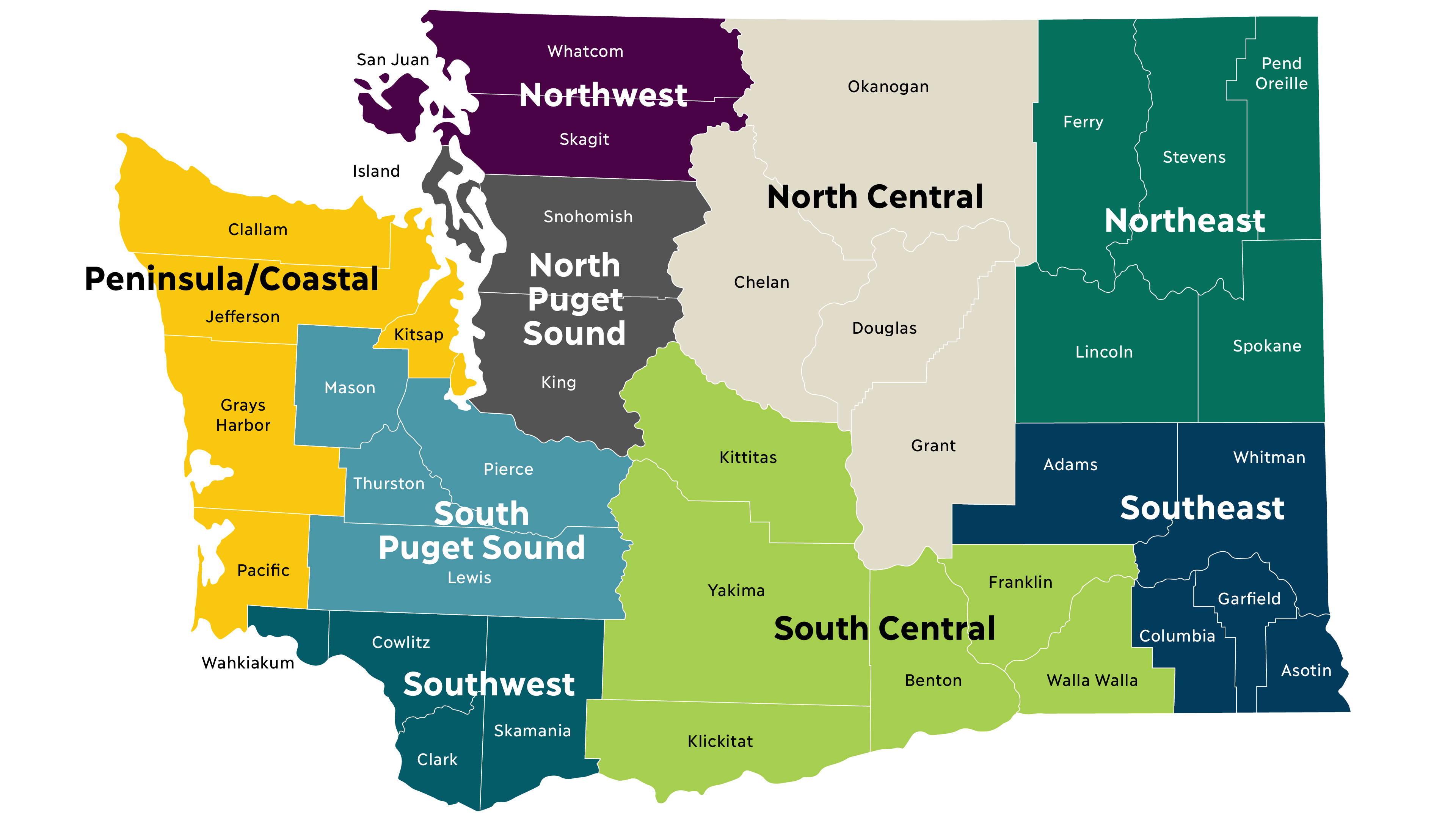 Map of Washington State, broken into nine regions