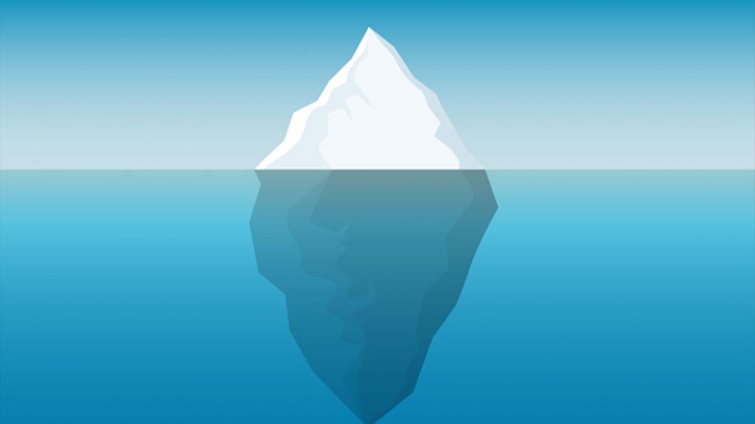 Image of iceberg half submerged