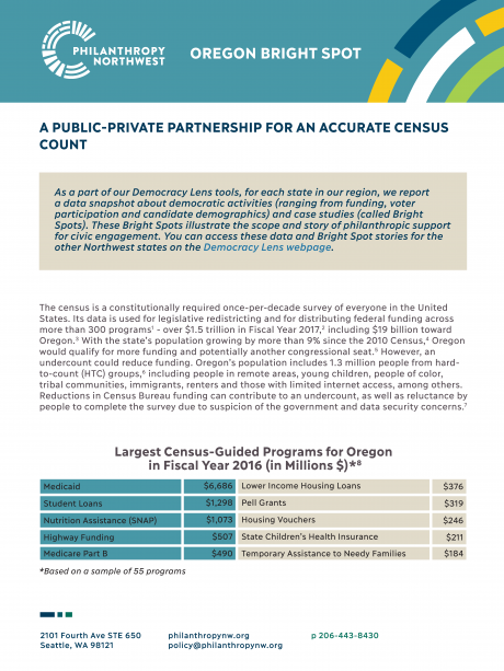 Cover image of Oregon Bright Spot Partnership for an Accurate Census Count
