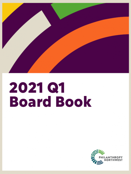 Philanthropy Northwest Board Book cover for 2021 Q1