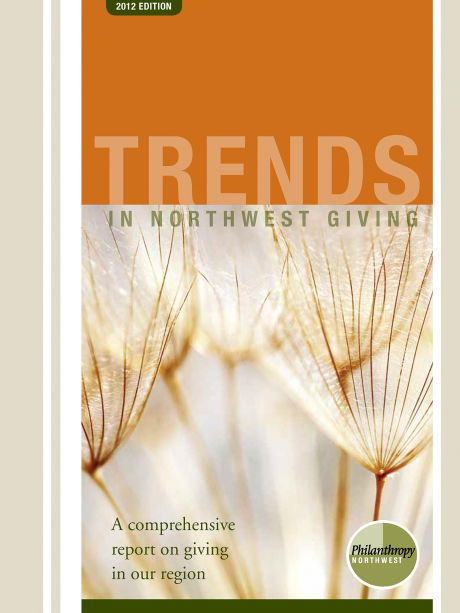 Cover image for Trends in NW Giving 2012 report-a picture of 5 dandelion-like seed pods