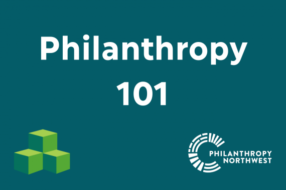 Philanthropy 101 Graphic with green building blocks
