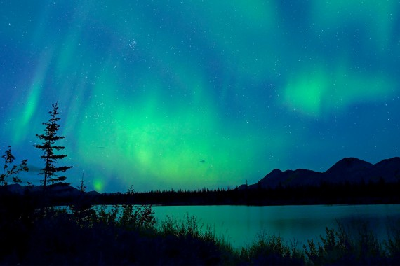 Image of Aurora Borealis green lights against blue sky over a lake in Denali National Park, Alaska