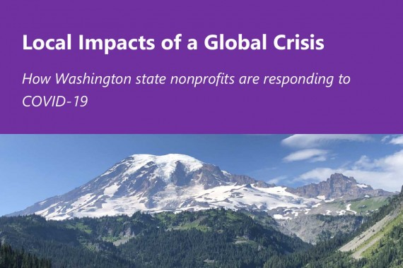 """Image of report cover """"Local Impacts of a Global Crisis"""" and picture of Mt. Rainier below"""