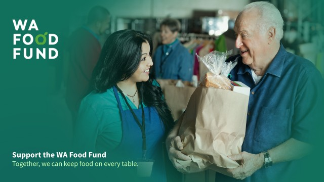 WA Food Fund Banner with image of woman at food bank giving a bag of groceries to an elder man