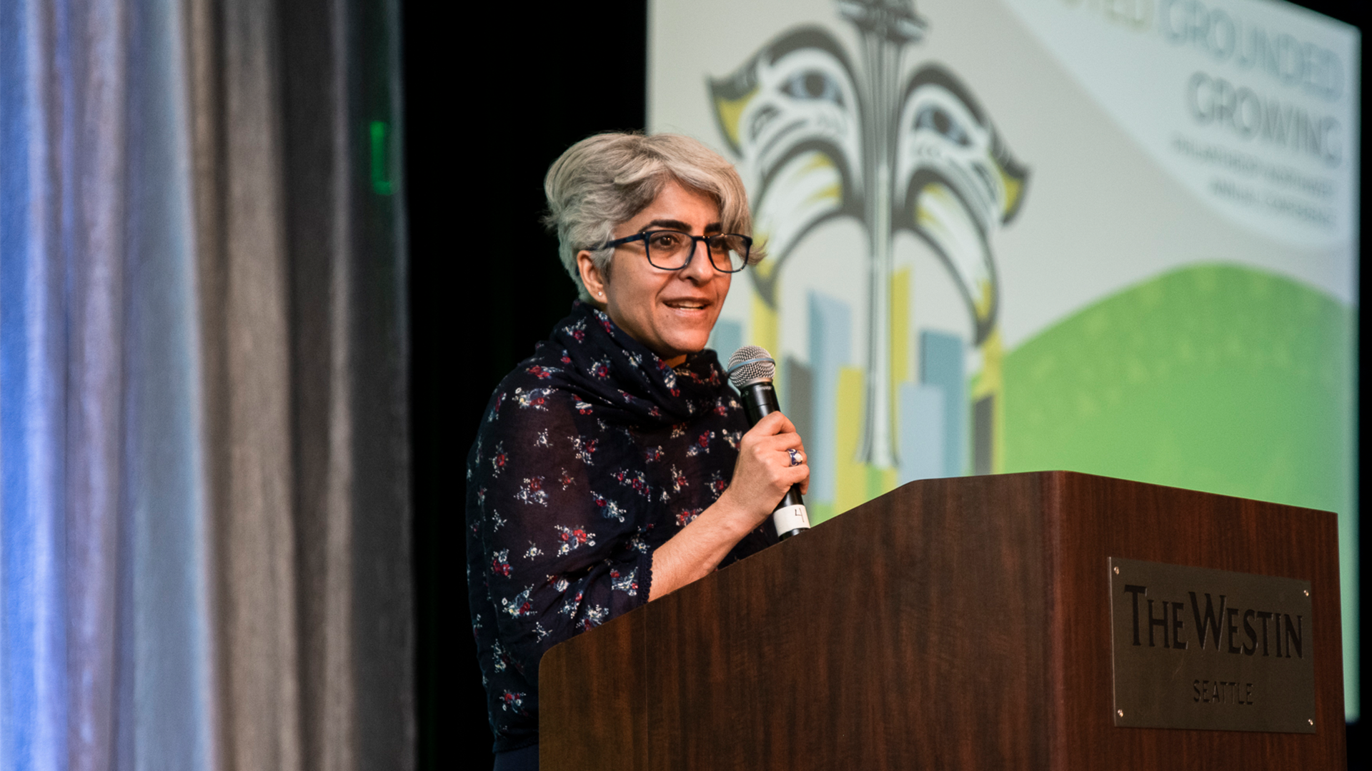 Kiran Ahuja on stage at the Philanthropy Northwest Annual Conference in 2019