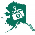 Green graphic of state of AK with white overlay of scissors cutting a dollar bill