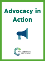 Advocacy in Action Graphic which includes and blue horn and the Philanthropy Northwest logo