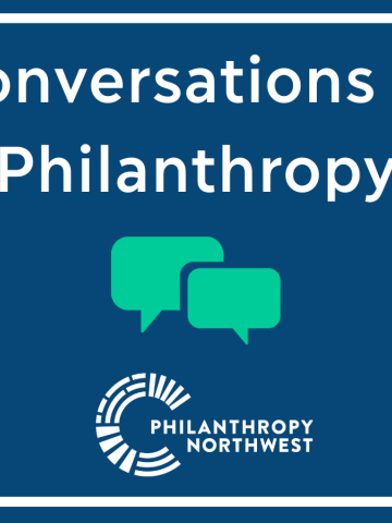 Conversations in Philanthropy Graphic with two green speech bubbles