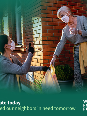 WA Food Fund image of woman with mask and gloves handing a bag of food to a woman on her front porch, also wearing a mask and gloves