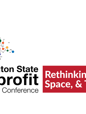 WA ST Nonprofit Conference Banner - Rethinking Place, Space and Time. Picture of an arrow made of colorful dots and connecting lines