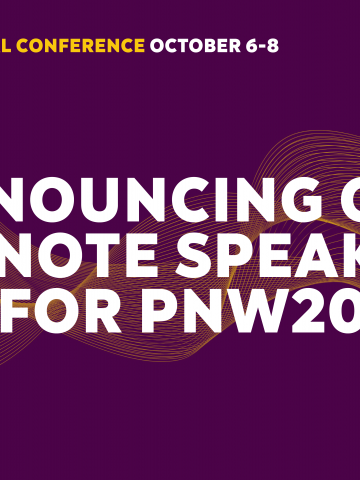 Purple Announcing Our Keynote Speakers for PNW20 Graphic
