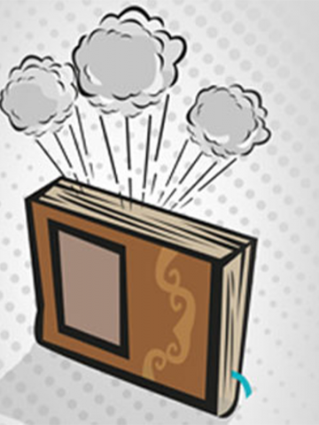 Graphic of a brown book on a gray background