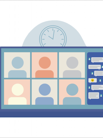 Graphic of a laptop screen showing a virtual meeting with six avatars of people in boxes and a chat box on the side