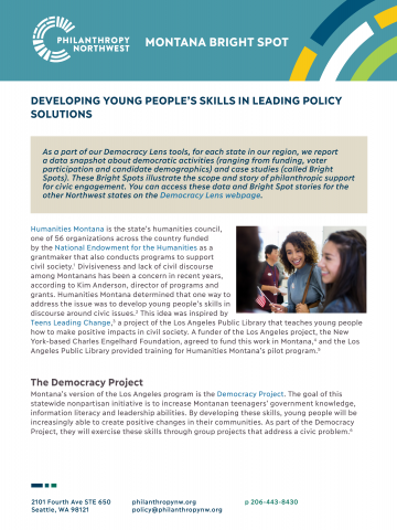 Cover image for Montana Bright Spot: Developing Young People's Skills to Find Policy Solutions