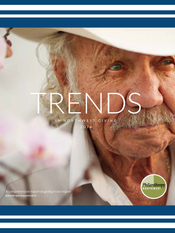 Cover image for Trends in NW Giving 2014 report-a elder man with gray hair and mustache wearing a white shirt and white cowboy hat