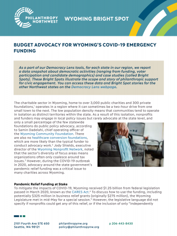 Image of cover of Wyoming Bright Spot: Budget Advocacy for COVID-19 Funding