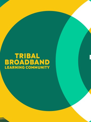 """Tribal Broadband Learning Community graphic with a telecommunication tower in the background and the tagline """"Empowering Connection"""""""