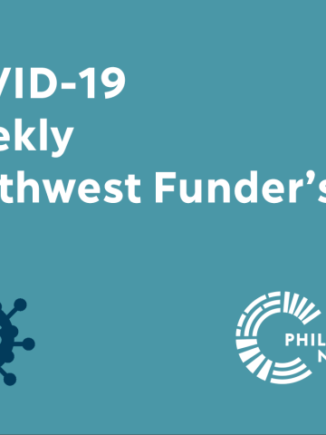 Event Banner for COVID-19 Weekly Northwest Funder's Call with virus icon and Philanthropy Northwest logo