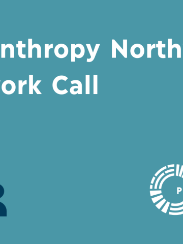 Event banner for Philanthropy Northwest Network Call with icon of three people talking
